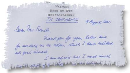 """Dear Mr French, Thank you for your letter and for sending me the video, which I have watched with great interest ...""  The video was a copy of the 1997 Wales This Week programme that was censored by Tribunal staff. Illustration: Rebecca Television"