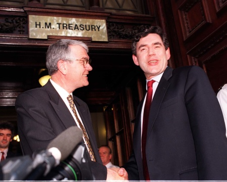 "GORDON ""WINDFALL TAX"" BROWN  IN 1997 Gordon Brown was welcomed to the Treasury by Permanent Secretary Terry Burns. Brown went on to impose a massive ""windfall tax"" on bloated privatised utilities like Welsh Water. ironically, three years later the ennobled Burns became the first chairman of Glas Cymru, the company which bought Welsh Water in 2001. Now Rebecca Television is calling for another ""windfall tax"" on the company ...  Photo: PA"